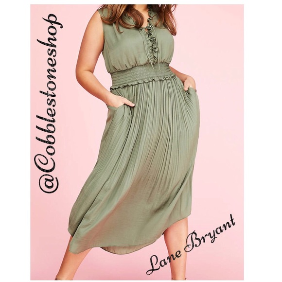 3b5bbb883cc Lane Bryant + 26 28 Green Ruffle LaceUp Maxi Dress